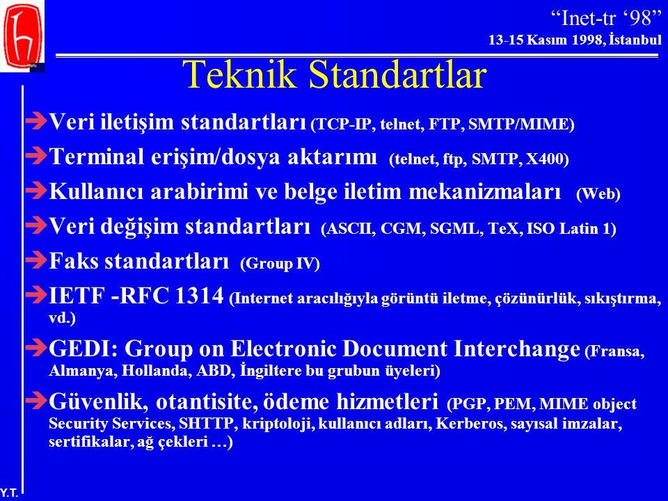 """""""Inet-tr '98"""" 13-15 Kasım 1998, İstanbul Y.T. Farklı Türdeki Bilgiler İçin Ağ Gereksinimleri (Singleton 1993: 30)"""