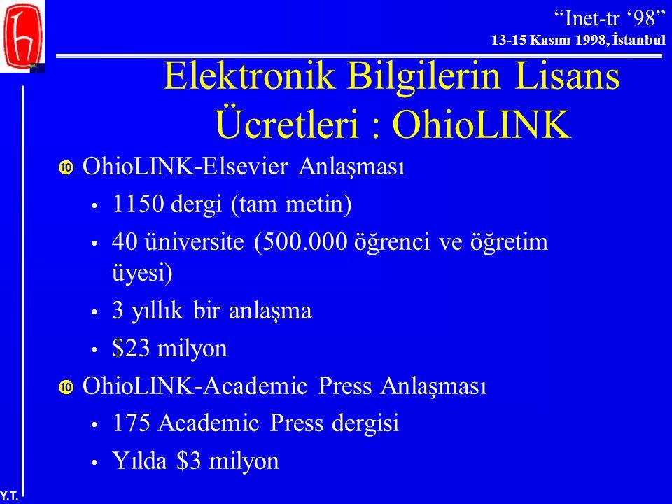 """""""Inet-tr '98"""" 13-15 Kasım 1998, İstanbul Y.T. Elektronik Bilgilerin Lisans Ücretleri: ISI  ISI (1982-1997: site başına en fazla 15 eşzamanlı kullanıc"""