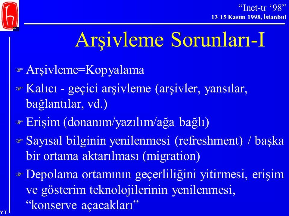 """""""Inet-tr '98"""" 13-15 Kasım 1998, İstanbul Y.T. Arşivlemeden Kim Sorumlu?  Kütüphaneler?  Yayıncılar?  Abone firmaları/Kitap satıcıları/Eski sayı sat"""