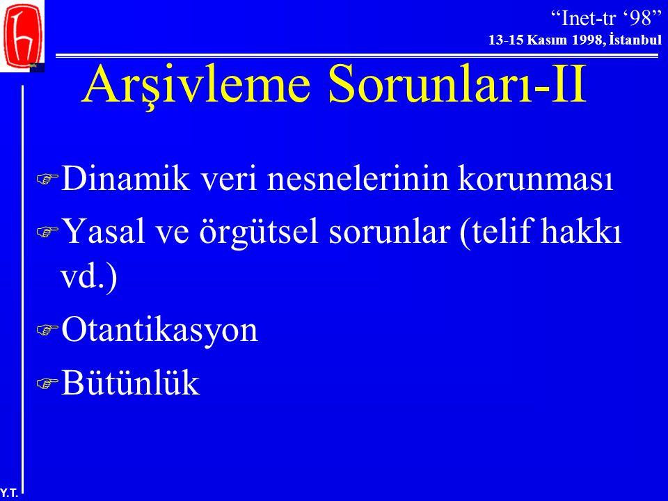"""""""Inet-tr '98"""" 13-15 Kasım 1998, İstanbul Y.T. Arşivleme Sorunları-I  Arşivleme=Kopyalama  Kalıcı - geçici arşivleme (arşivler, yansılar, bağlantılar"""