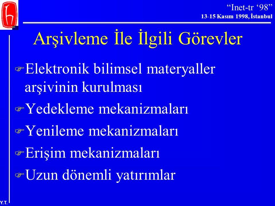 """""""Inet-tr '98"""" 13-15 Kasım 1998, İstanbul Y.T. Arşivleme Sorunları-II  Dinamik veri nesnelerinin korunması  Yasal ve örgütsel sorunlar (telif hakkı v"""