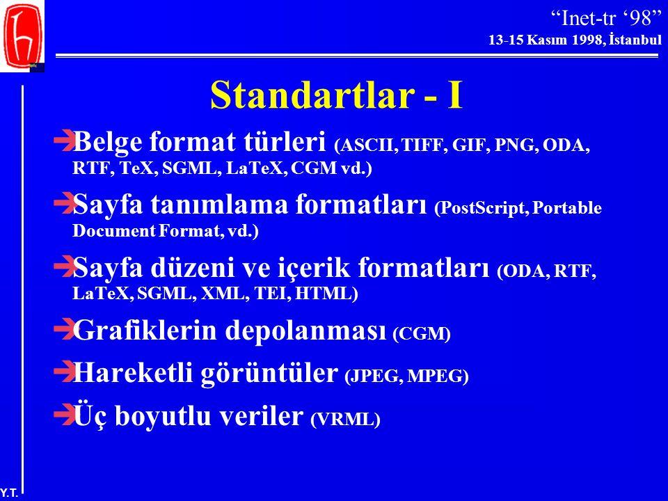 """""""Inet-tr '98"""" 13-15 Kasım 1998, İstanbul Y.T. Genel Sorunlar-II  Elektronik yayıncılık """"ciddi bilim"""" için uygun görülmüyor –toplu bilgi tabanı oluştu"""
