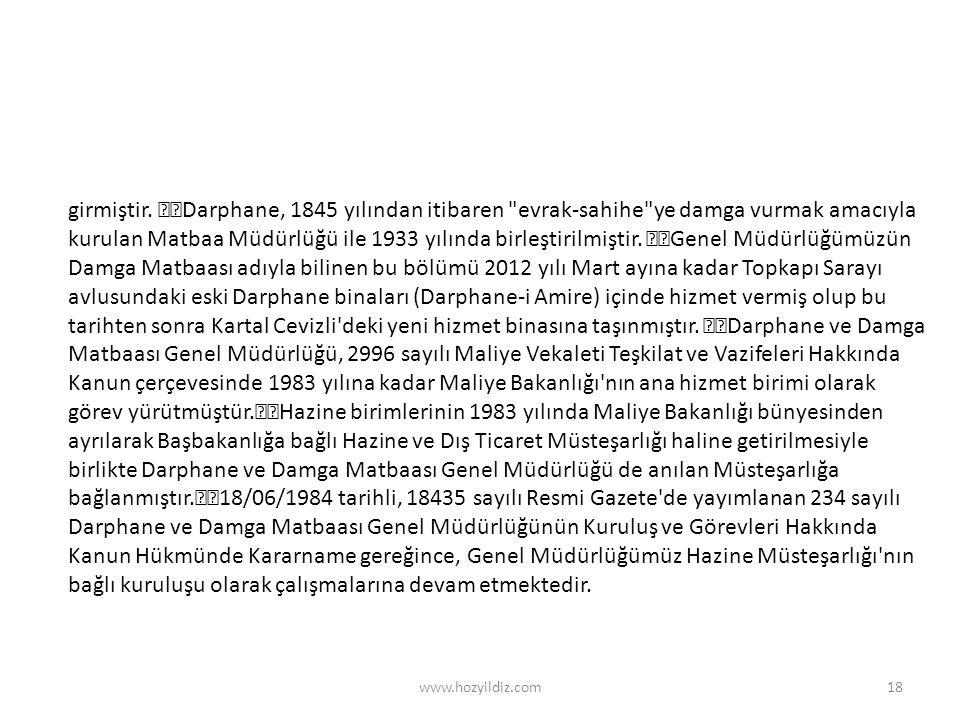 www.hozyildiz.com18 girmiştir. Darphane, 1845 yılından itibaren