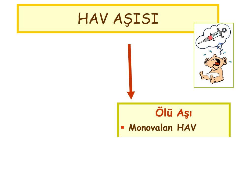Ölü Aşı  Monovalan HAV  Kombine HAV+HBV Canlı Aşı Çin HAV AŞISI