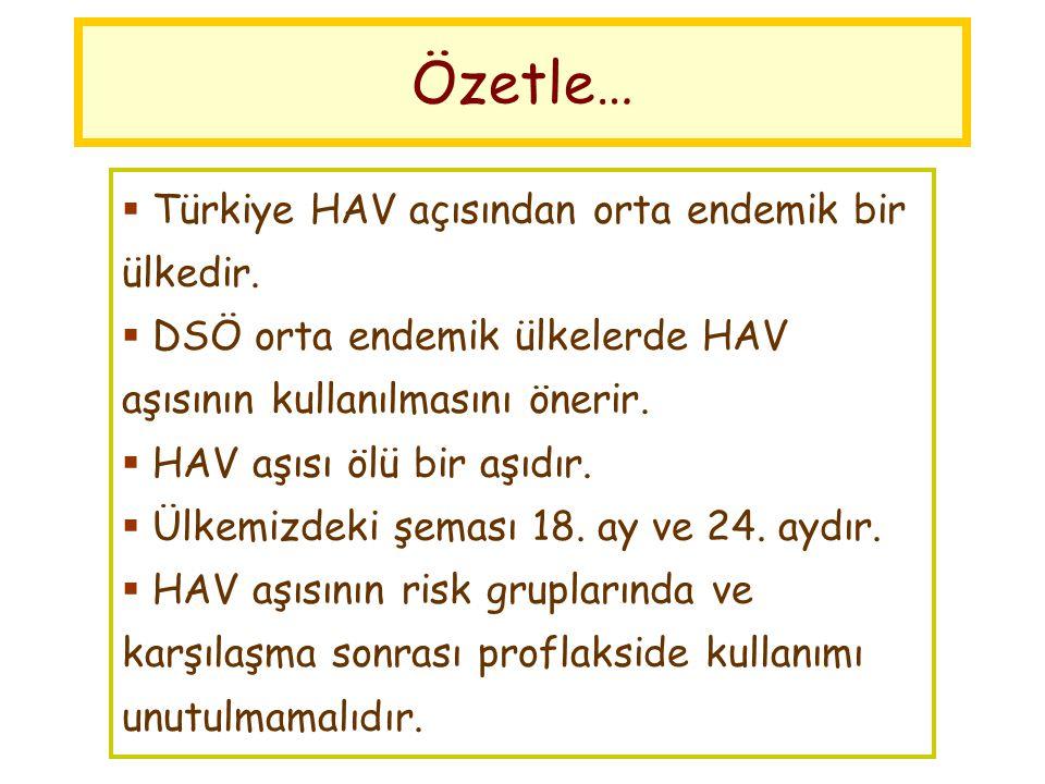  Türkiye HAV açısından orta endemik bir ülkedir.  DSÖ orta endemik ülkelerde HAV aşısının kullanılmasını önerir.  HAV aşısı ölü bir aşıdır.  Ülkem
