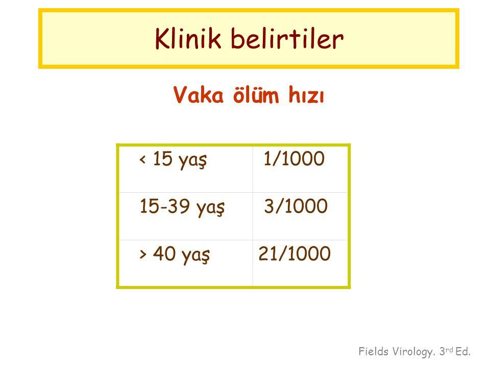 Klinik belirtiler Vaka ölüm hızı < 15 yaş 1/1000 15-39 yaş 3/1000 > 40 yaş21/1000 Fields Virology. 3 rd Ed.