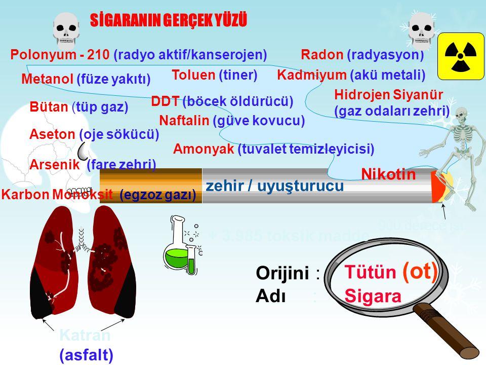 SİGARANIN GERÇEK YÜZÜ Orijini : Adı : Tütün (ot) Sigara 900 derece ısı Nikotin zehir / uyuşturucu Polonyum - 210 (radyo aktif/kanserojen)Radon (radyasyon) Metanol (füze yakıtı) Toluen (tiner)Kadmiyum (akü metali) Bütan (tüp gaz) DDT (böcek öldürücü) Hidrojen Siyanür (gaz odaları zehri) Aseton (oje sökücü) Naftalin (güve kovucu) Arsenik (fare zehri) Amonyak (tuvalet temizleyicisi) Karbon Monoksit (egzoz gazı) Katran (asfalt) + 3.985 toksik madde