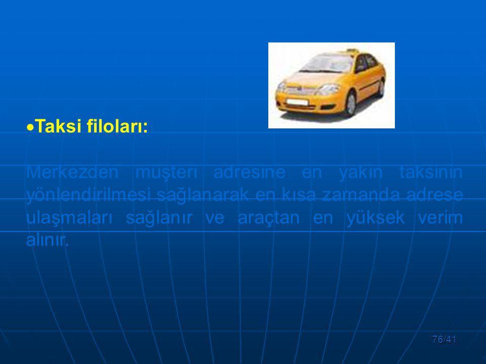 76/41  Taksi filoları: Merkezden müşteri adresine en yakın taksinin yönlendirilmesi sağlanarak en kısa zamanda adrese ulaşmaları sağlanır ve araçtan en yüksek verim alınır.