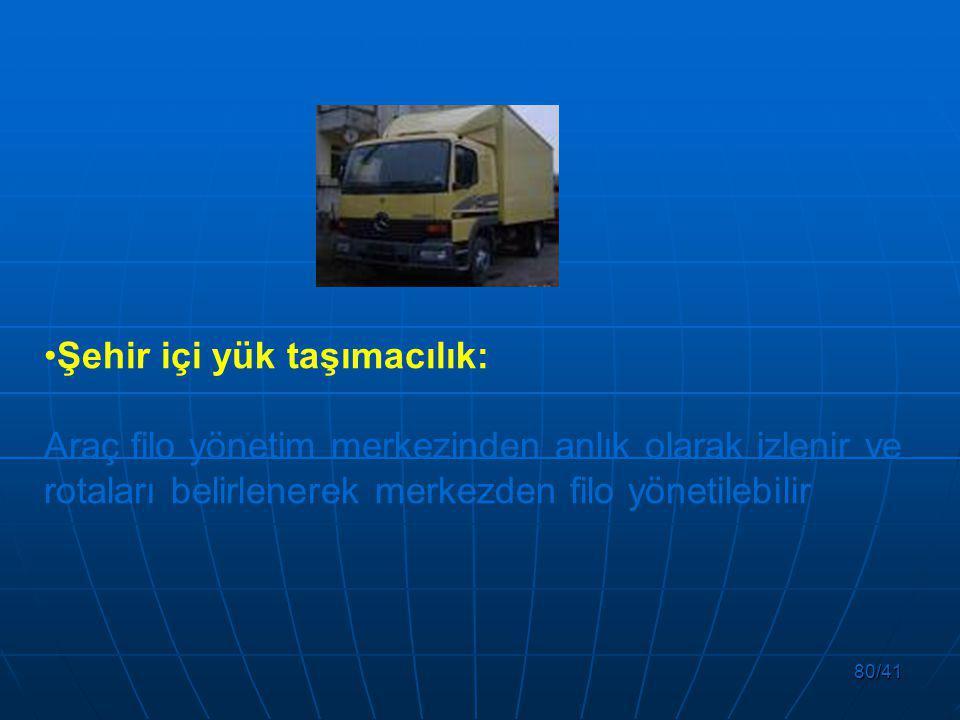 80/41 Şehir içi yük taşımacılık: Araç filo yönetim merkezinden anlık olarak izlenir ve rotaları belirlenerek merkezden filo yönetilebilir