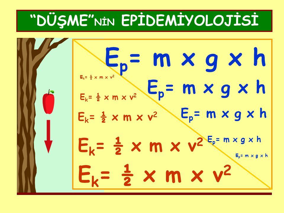 """DÜŞME"" NİN EPİDEMİYOLOJİSİ E p = m x g x h E k = ½ x m x v 2"