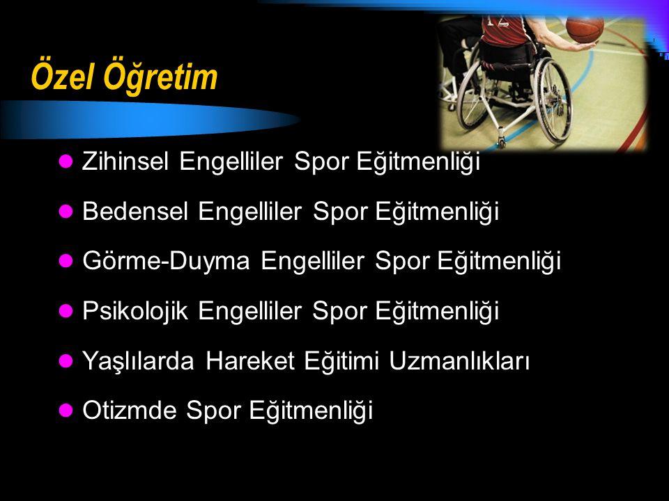 Özel Öğretim Zihinsel Engelliler Spor Eğitmenliği Bedensel Engelliler Spor Eğitmenliği Görme-Duyma Engelliler Spor Eğitmenliği Psikolojik Engelliler S