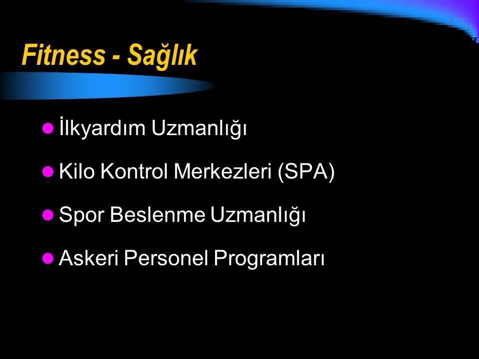 Fitness - Sağlık İlkyardım Uzmanlığı Kilo Kontrol Merkezleri (SPA) Spor Beslenme Uzmanlığı Askeri Personel Programları