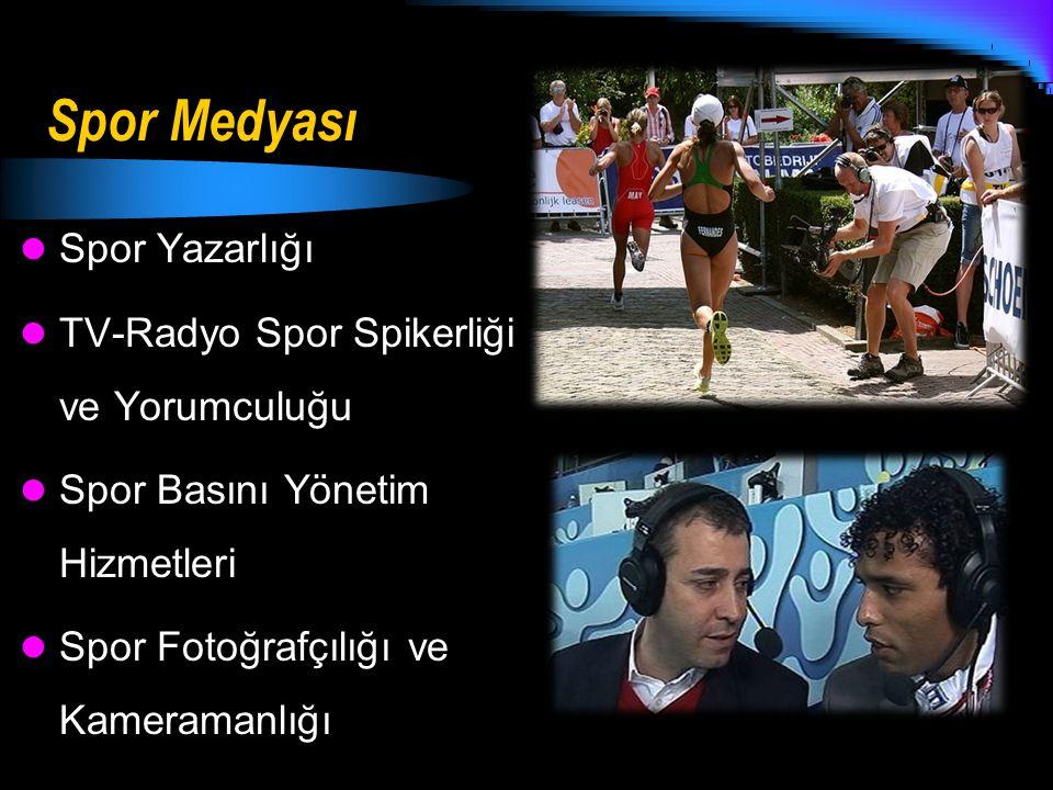 Spor Medyası Spor Yazarlığı TV-Radyo Spor Spikerliği ve Yorumculuğu Spor Basını Yönetim Hizmetleri Spor Fotoğrafçılığı ve Kameramanlığı