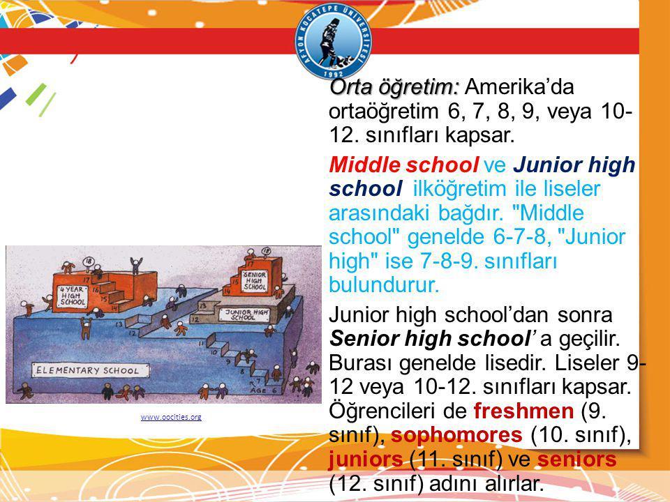 Orta öğretim: Orta öğretim: Amerika'da ortaöğretim 6, 7, 8, 9, veya 10- 12. sınıfları kapsar. Middle school ve Junior high school ilköğretim ile lisel