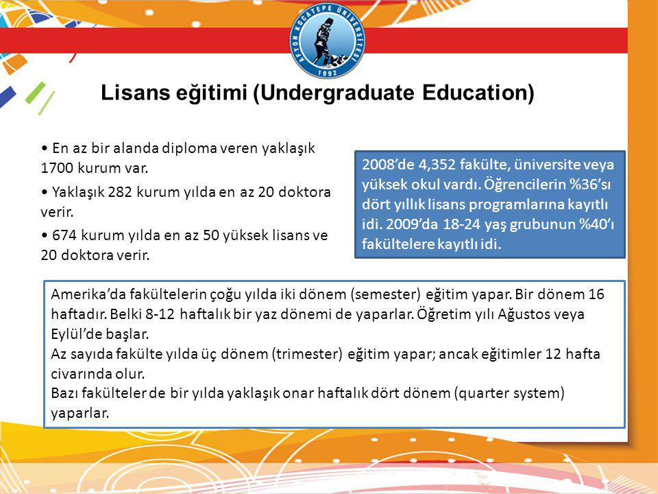 Lisans eğitimi (Undergraduate Education) En az bir alanda diploma veren yaklaşık 1700 kurum var. Yaklaşık 282 kurum yılda en az 20 doktora verir. 674
