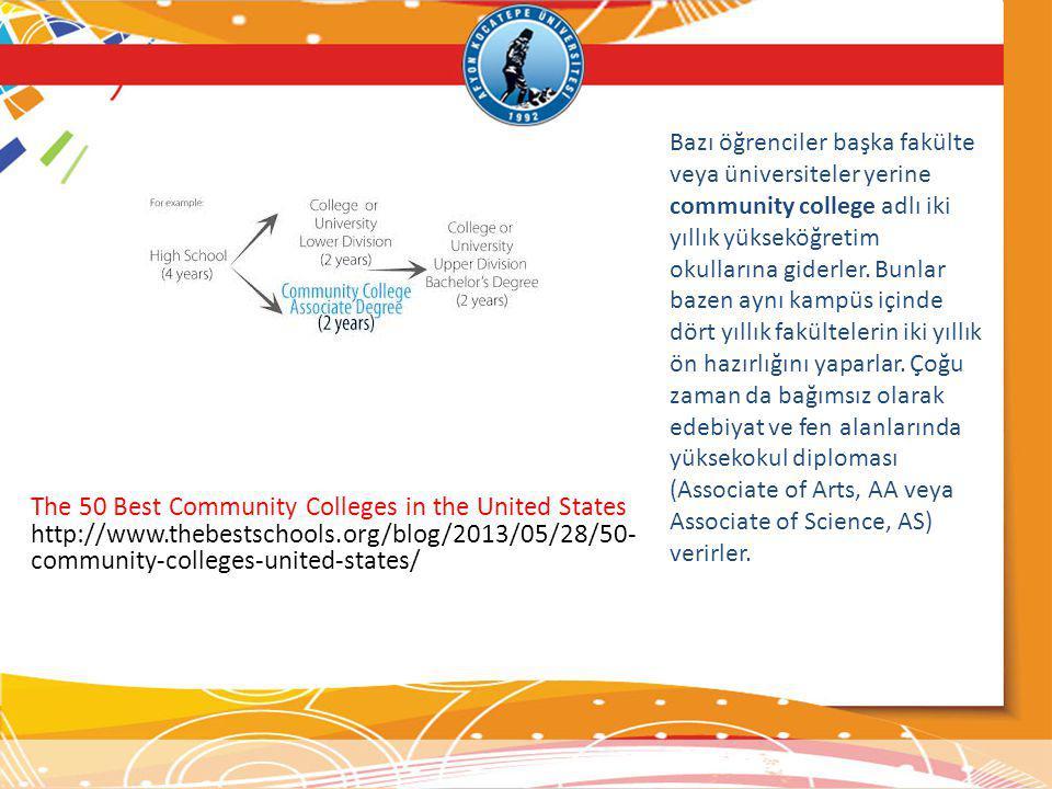 Bazı öğrenciler başka fakülte veya üniversiteler yerine community college adlı iki yıllık yükseköğretim okullarına giderler. Bunlar bazen aynı kampüs