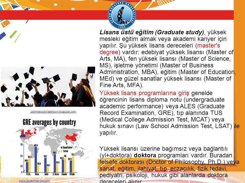 Lisans üstü eğitim (Graduate study), yüksek mesleki eğitim almak veya akademi kariyer için yapılır. Şu yüksek lisans dereceleri (master's degree) vard