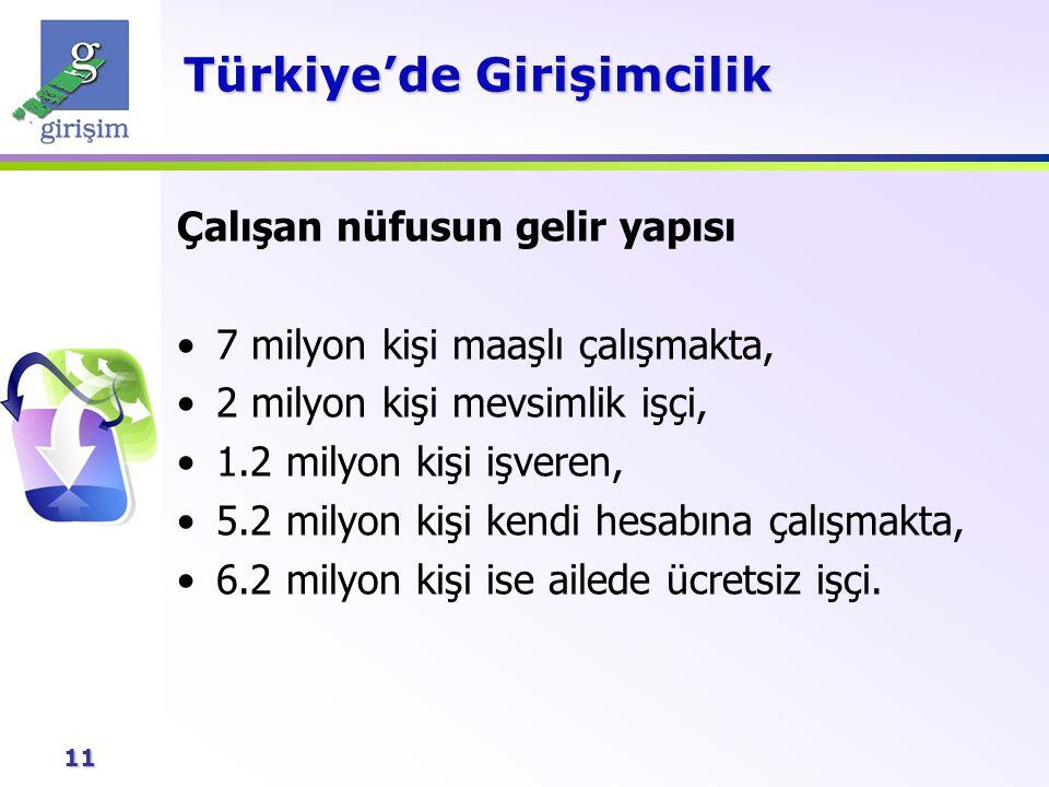 11 Türkiye'de Girişimcilik Çalışan nüfusun gelir yapısı 7 milyon kişi maaşlı çalışmakta, 2 milyon kişi mevsimlik işçi, 1.2 milyon kişi işveren, 5.2 mi