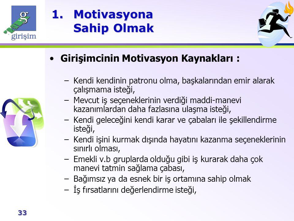 33 1.Motivasyona Sahip Olmak Girişimcinin Motivasyon Kaynakları : –Kendi kendinin patronu olma, başkalarından emir alarak çalışmama isteği, –Mevcut iş