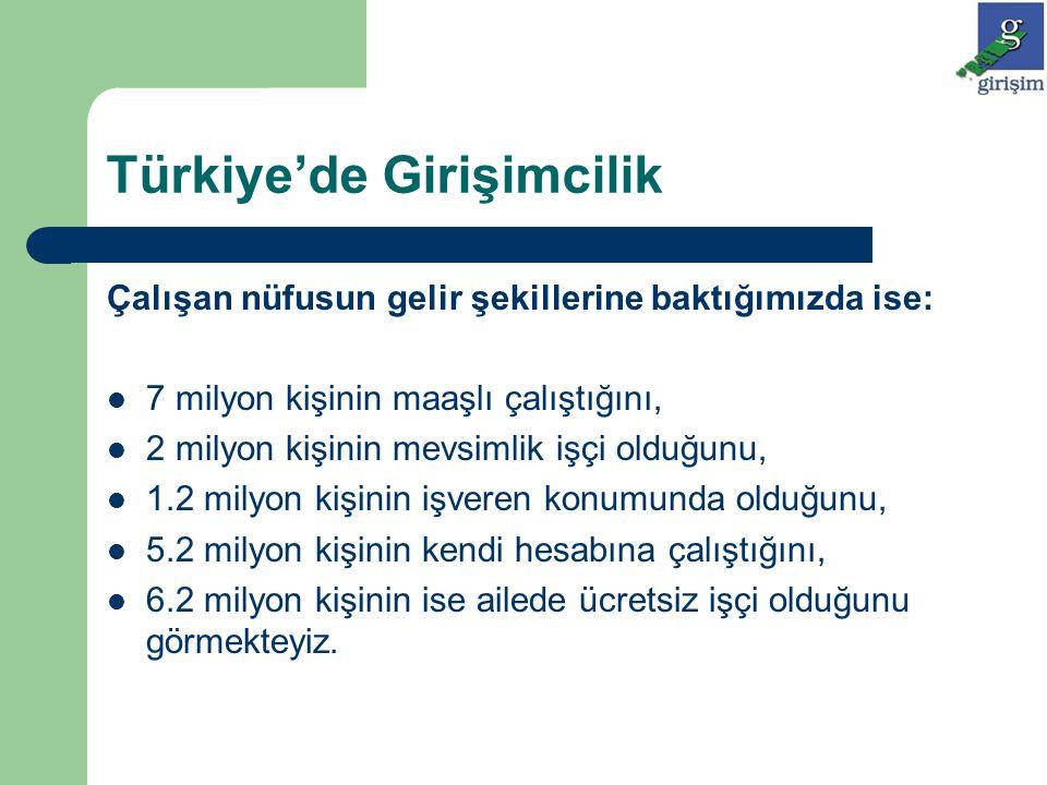 Türkiye'de Girişimcilik Çalışan nüfusun gelir şekillerine baktığımızda ise: 7 milyon kişinin maaşlı çalıştığını, 2 milyon kişinin mevsimlik işçi olduğ