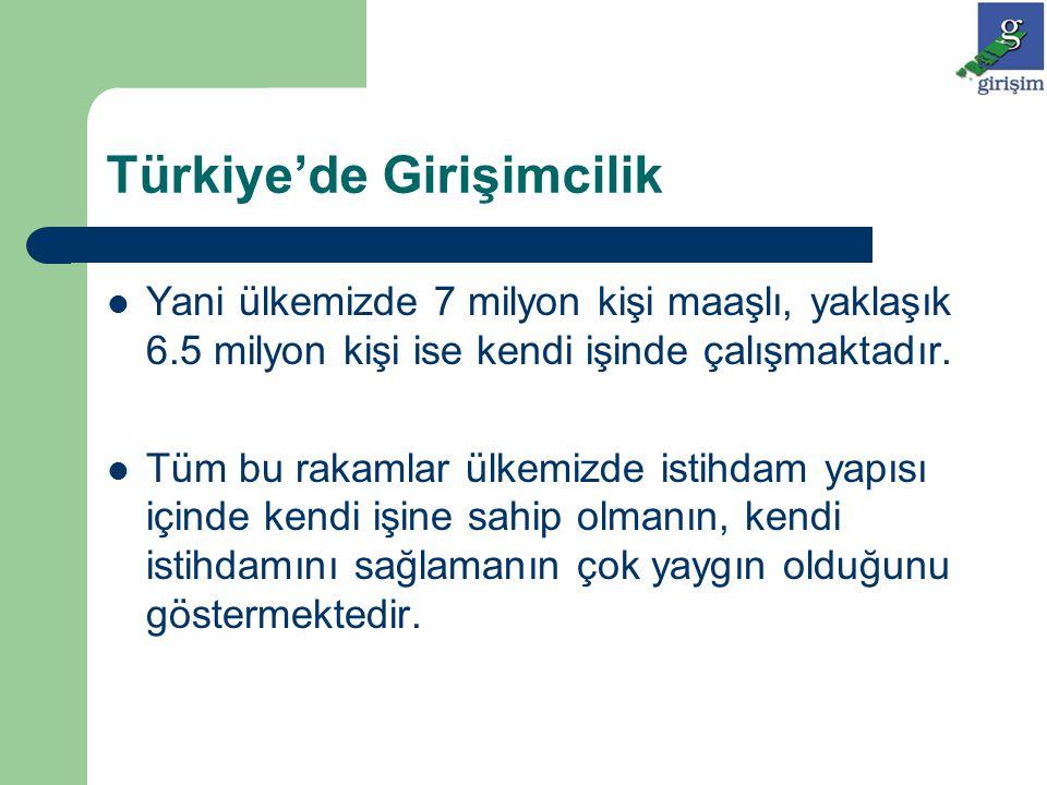 Türkiye'de Girişimcilik Yani ülkemizde 7 milyon kişi maaşlı, yaklaşık 6.5 milyon kişi ise kendi işinde çalışmaktadır. Tüm bu rakamlar ülkemizde istihd
