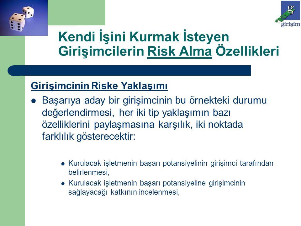 Girişimcinin Riske Yaklaşımı Başarıya aday bir girişimcinin bu örnekteki durumu değerlendirmesi, her iki tip yaklaşımın bazı özelliklerini paylaşmasın