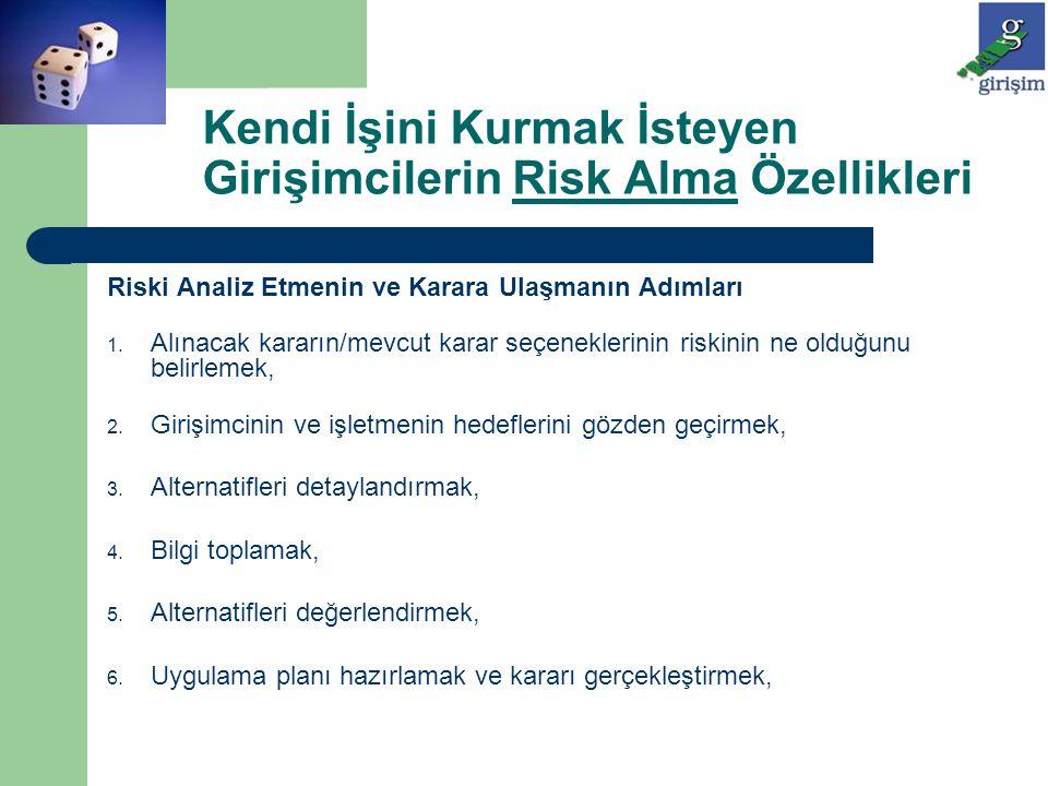 Riski Analiz Etmenin ve Karara Ulaşmanın Adımları 1. Alınacak kararın/mevcut karar seçeneklerinin riskinin ne olduğunu belirlemek, 2. Girişimcinin ve