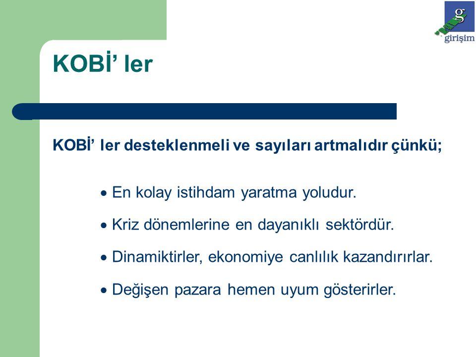 KOBİ' lerin Avantajları  Gelişen ekonomilerde, pazardaki küçük gelişme adımları ancak KOBİ' ler tarafından verimli değerlendirilir.