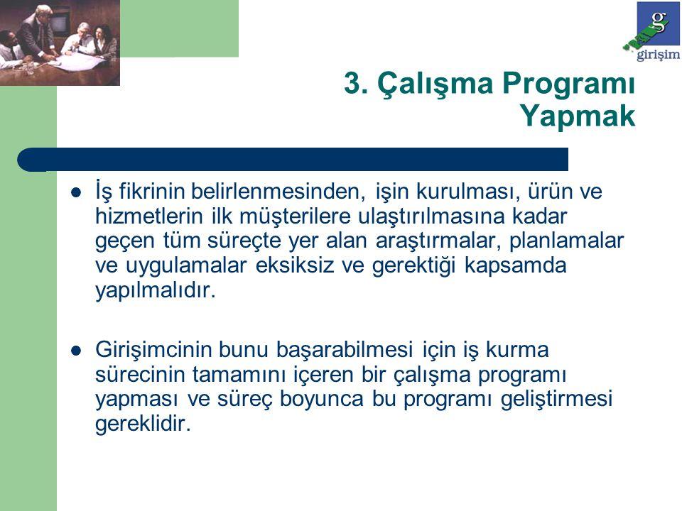 3. Çalışma Programı Yapmak İş fikrinin belirlenmesinden, işin kurulması, ürün ve hizmetlerin ilk müşterilere ulaştırılmasına kadar geçen tüm süreçte y