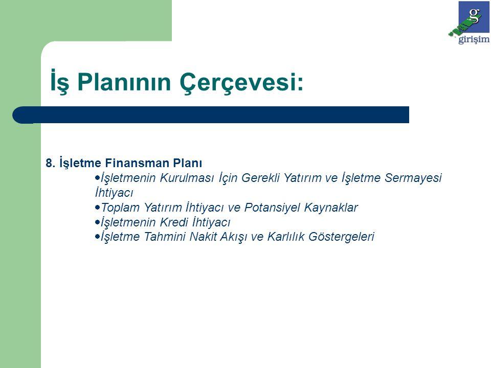 8. İşletme Finansman Planı  İşletmenin Kurulması İçin Gerekli Yatırım ve İşletme Sermayesi İhtiyacı  Toplam Yatırım İhtiyacı ve Potansiyel Kaynaklar