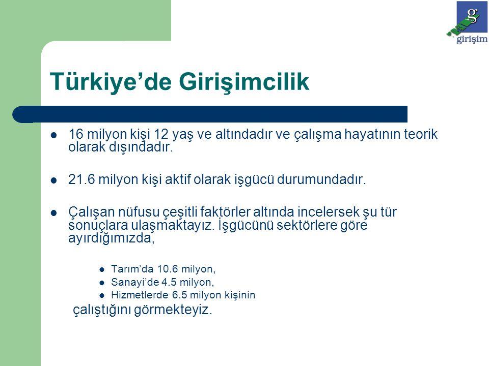 Türkiye'de Girişimcilik Çalışan nüfusun gelir şekillerine baktığımızda ise: 7 milyon kişinin maaşlı çalıştığını, 2 milyon kişinin mevsimlik işçi olduğunu, 1.2 milyon kişinin işveren konumunda olduğunu, 5.2 milyon kişinin kendi hesabına çalıştığını, 6.2 milyon kişinin ise ailede ücretsiz işçi olduğunu görmekteyiz.