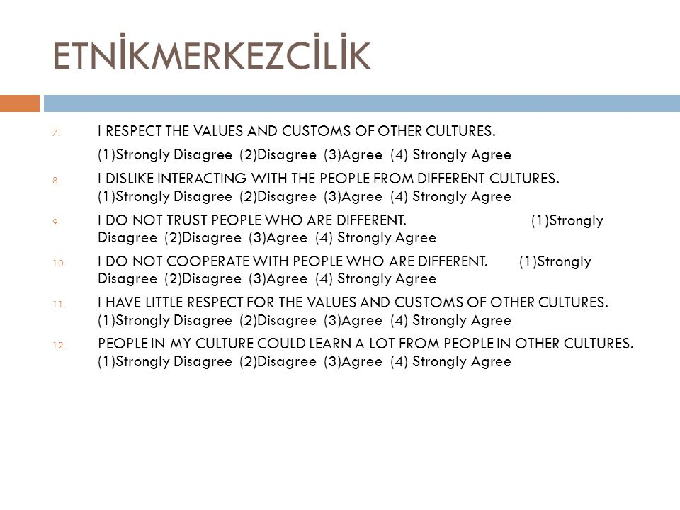 ETN İ KMERKEZC İ L İ K 7. I RESPECT THE VALUES AND CUSTOMS OF OTHER CULTURES.