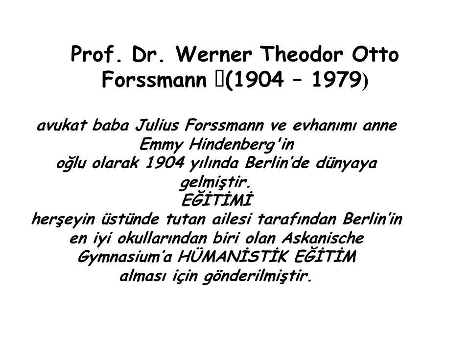 Prof. Dr. Werner Theodor Otto Forssmann (1904 – 1979 ) avukat baba Julius Forssmann ve evhanımı anne Emmy Hindenberg'in oğlu olarak 1904 yılında Berli