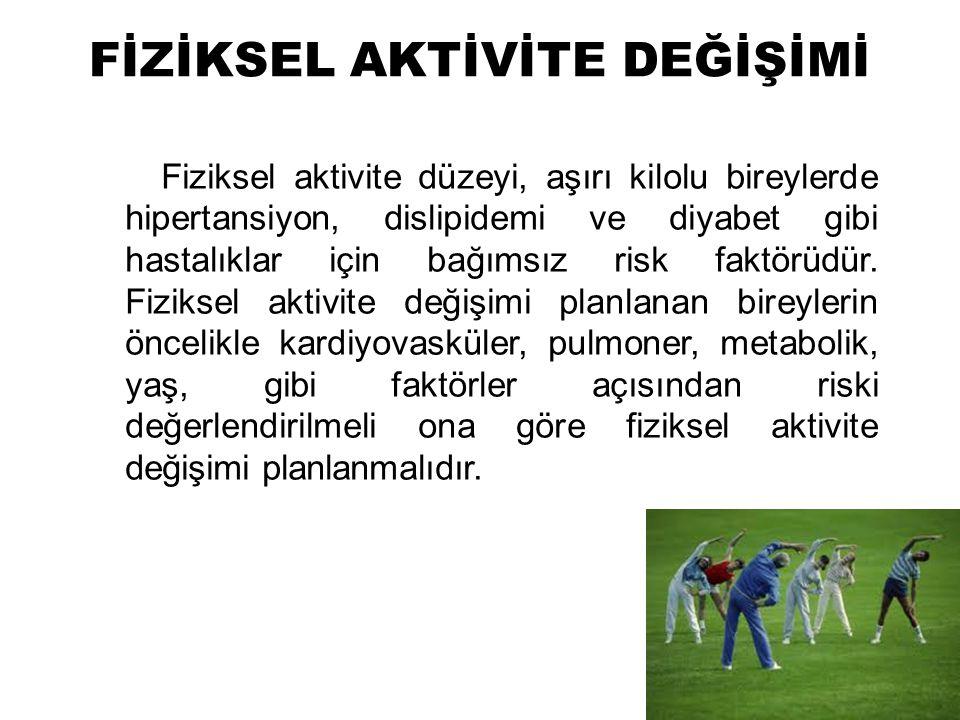 FİZİKSEL AKTİVİTE DEĞİŞİMİ Fiziksel aktivite düzeyi, aşırı kilolu bireylerde hipertansiyon, dislipidemi ve diyabet gibi hastalıklar için bağımsız risk faktörüdür.