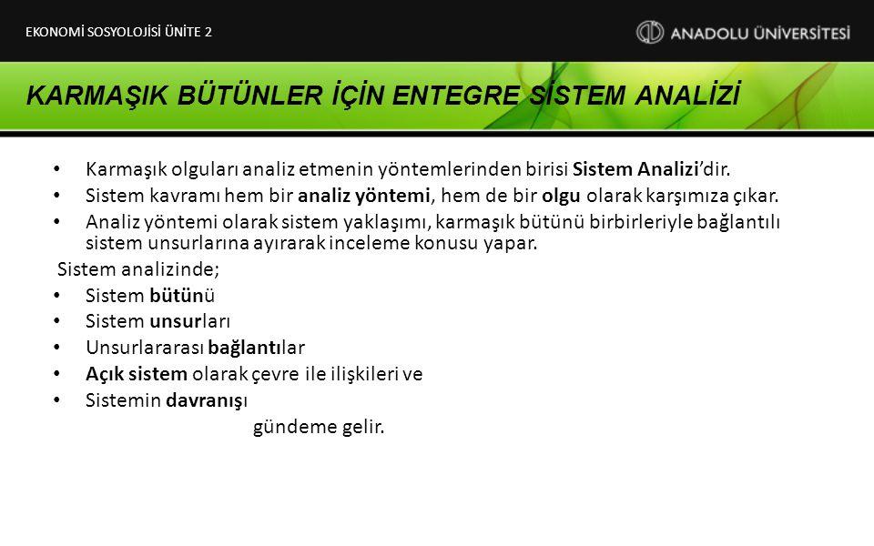 KARMAŞIK BÜTÜNLER İÇİN ENTEGRE SİSTEM ANALİZİ Karmaşık olguları analiz etmenin yöntemlerinden birisi Sistem Analizi'dir. Sistem kavramı hem bir analiz