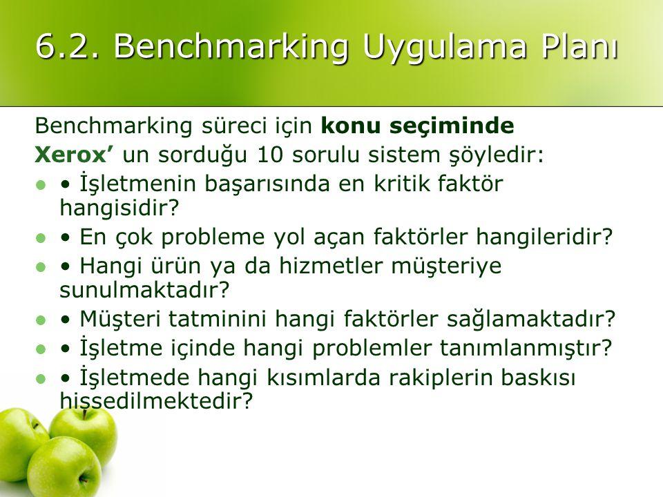 6.2. Benchmarking Uygulama Planı Benchmarking süreci için konu seçiminde Xerox' un sorduğu 10 sorulu sistem şöyledir: İşletmenin başarısında en kritik