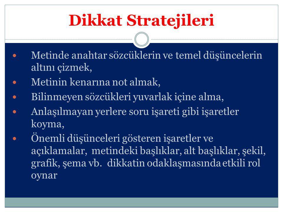 Dikkat Stratejileri Metinde anahtar sözcüklerin ve temel düşüncelerin altını çizmek, Metinin kenarına not almak, Bilinmeyen sözcükleri yuvarlak içine