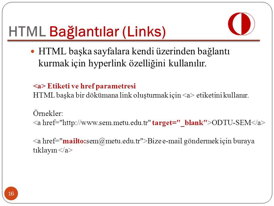 HTML başka sayfalara kendi üzerinden bağlantı kurmak için hyperlink özelliğini kullanılır. HTML Bağlantılar (Links) Etiketi ve href parametresi HTML b