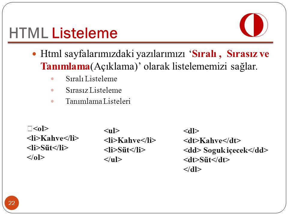 Html sayfalarımızdaki yazılarımızı 'Sıralı, Sırasız ve Tanımlama(Açıklama)' olarak listelememizi sağlar. Sıralı Listeleme Sırasız Listeleme Tanımlama