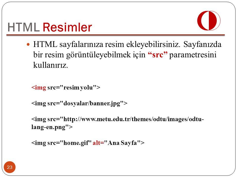 """HTML sayfalarınıza resim ekleyebilirsiniz. Sayfanızda bir resim görüntüleyebilmek için """"src"""" parametresini kullanırız. 23 HTML Resimler"""