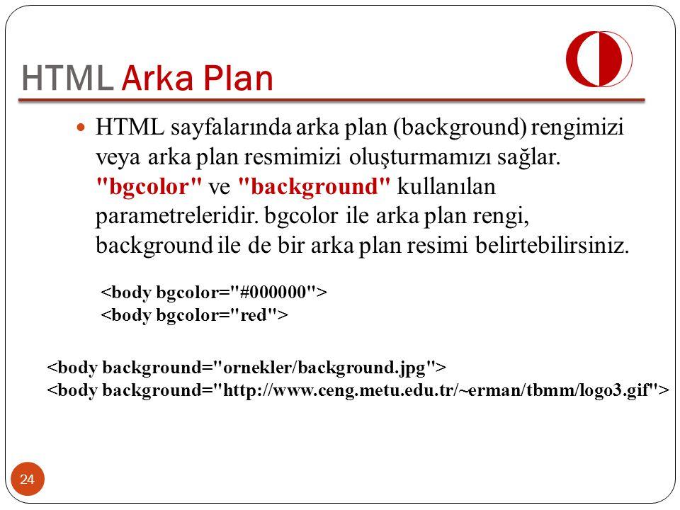 HTML sayfalarında arka plan (background) rengimizi veya arka plan resmimizi oluşturmamızı sağlar.