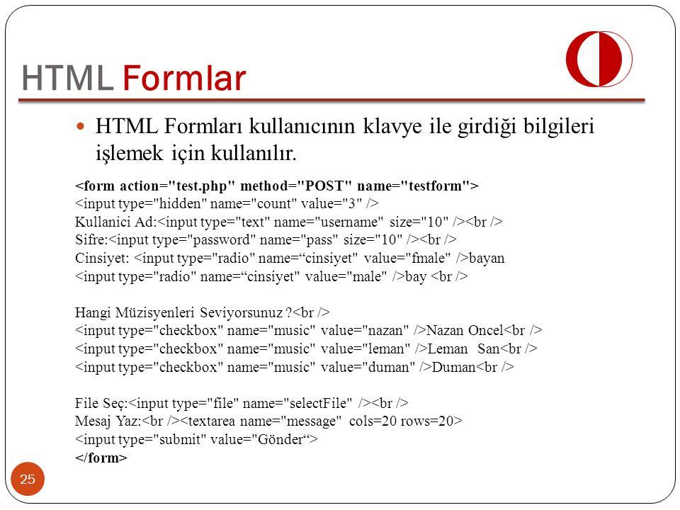 HTML Formları kullanıcının klavye ile girdiği bilgileri işlemek için kullanılır. 25 HTML Formlar Kullanici Ad: Sifre: Cinsiyet: bayan bay Hangi Müzisy