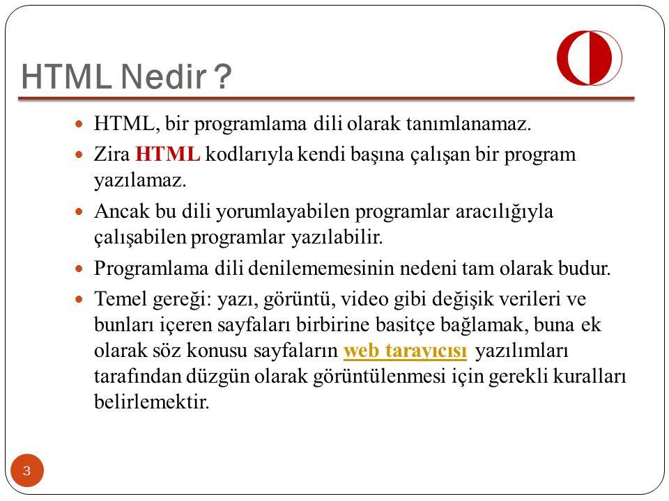 HTML, bir programlama dili olarak tanımlanamaz. Zira HTML kodlarıyla kendi başına çalışan bir program yazılamaz. Ancak bu dili yorumlayabilen programl