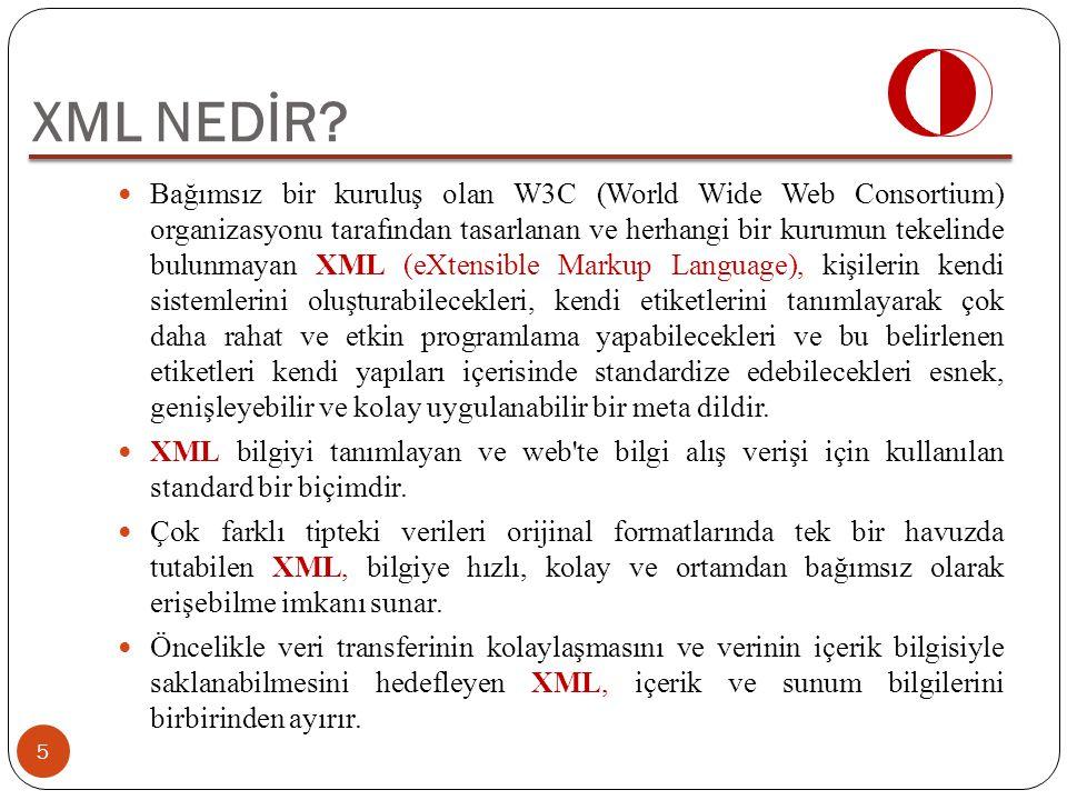 Bağımsız bir kuruluş olan W3C (World Wide Web Consortium) organizasyonu tarafından tasarlanan ve herhangi bir kurumun tekelinde bulunmayan XML (eXtens
