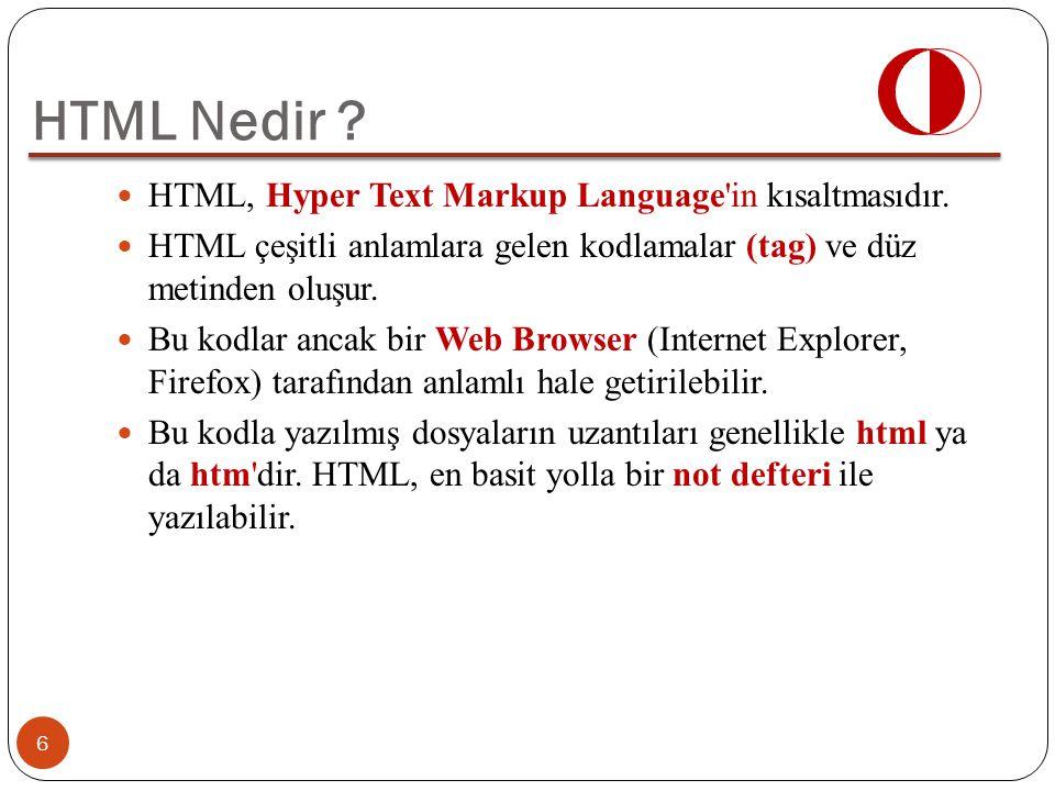 HTML, Hyper Text Markup Language'in kısaltmasıdır. HTML çeşitli anlamlara gelen kodlamalar (tag) ve düz metinden oluşur. Bu kodlar ancak bir Web Brows