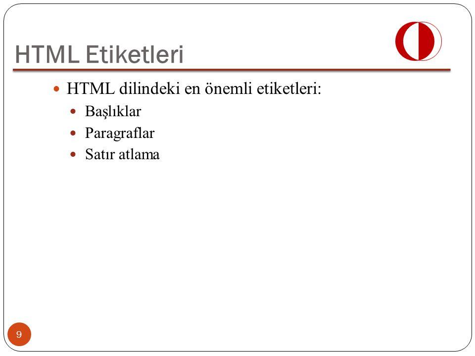 HTML dilindeki en önemli etiketleri: Başlıklar Paragraflar Satır atlama HTML Etiketleri 9