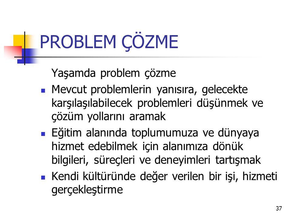 37 PROBLEM ÇÖZME Yaşamda problem çözme Mevcut problemlerin yanısıra, gelecekte karşılaşılabilecek problemleri düşünmek ve çözüm yollarını aramak Eğiti