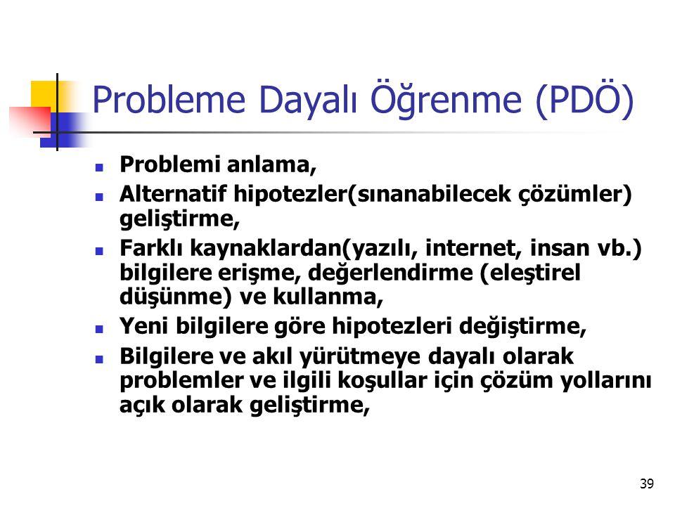 39 Probleme Dayalı Öğrenme (PDÖ) Problemi anlama, Alternatif hipotezler(sınanabilecek çözümler) geliştirme, Farklı kaynaklardan(yazılı, internet, insa
