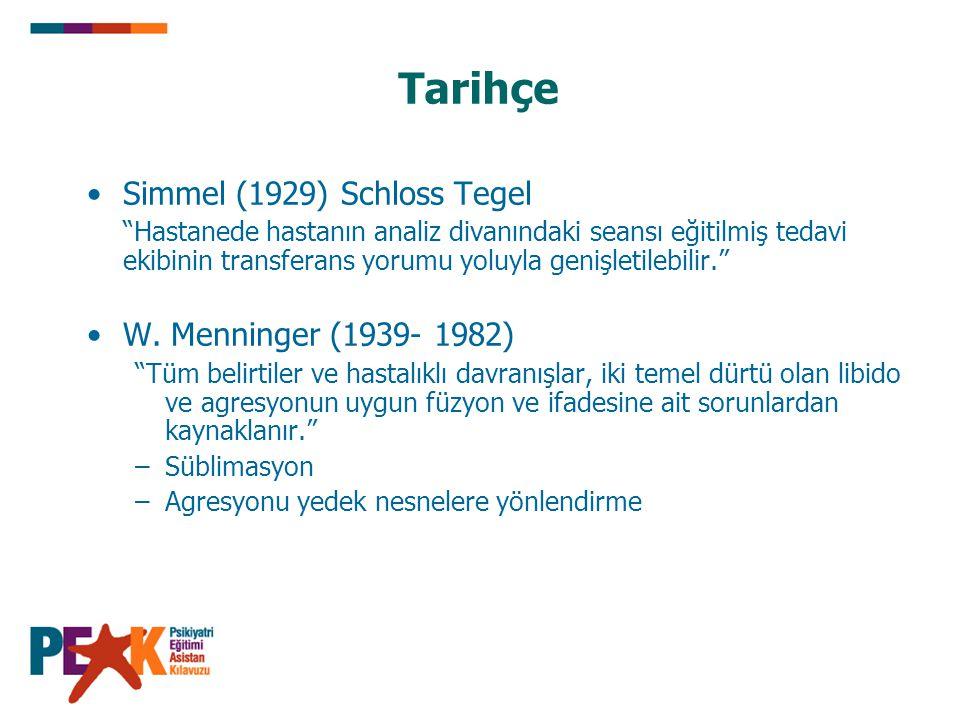 """Tarihçe Simmel (1929) Schloss Tegel """"Hastanede hastanın analiz divanındaki seansı eğitilmiş tedavi ekibinin transferans yorumu yoluyla genişletilebili"""