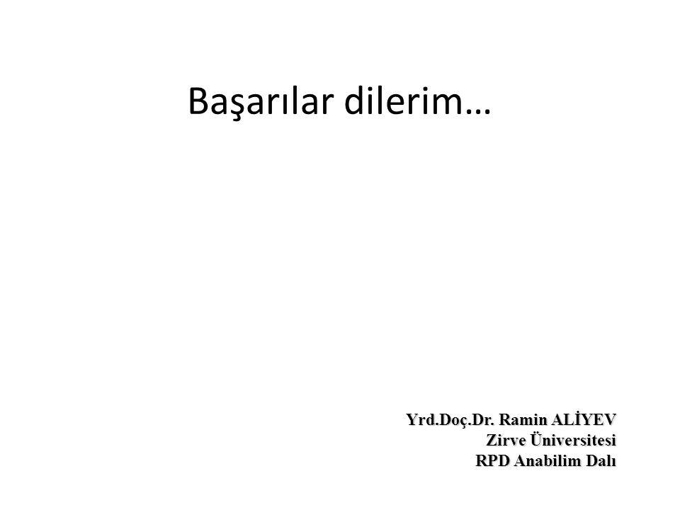 Başarılar dilerim… Yrd.Doç.Dr. Ramin ALİYEV Yrd.Doç.Dr. Ramin ALİYEV Zirve Üniversitesi RPD Anabilim Dalı